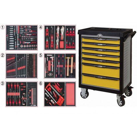 KS TOOLS 814.7452 Servante ULTIMATE grise et jaune 7 tiroirs équipée de 455 outils 7 tiroirs