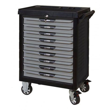 KS TOOLS 816.9158 Servante ULTIMATE grise et noire 9 tiroirs équipée de 158 outils 9 tiroirs