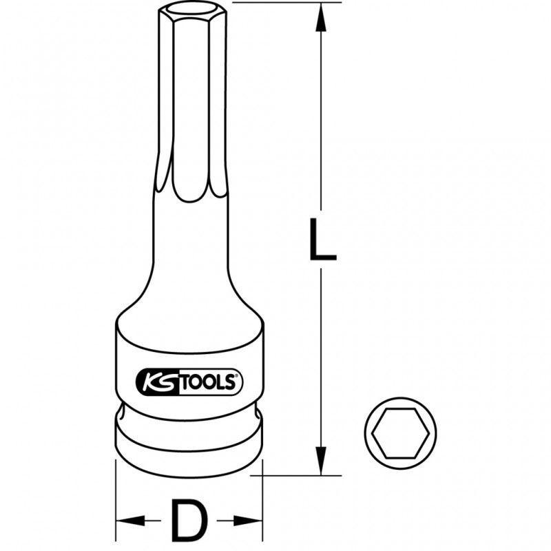 KSTools 911.0926 Douille M/âle /à Chocs 6 Pans 1//2 L.75 mm 6 mm