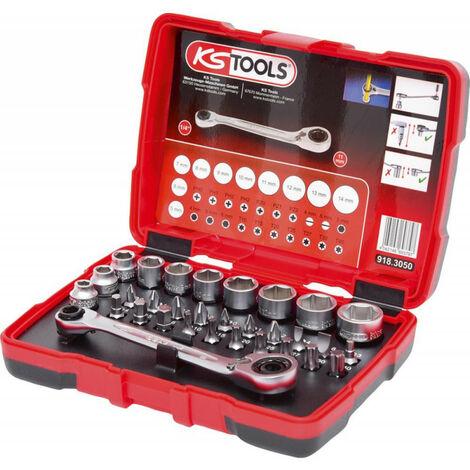 KS Tools 918.3050 - Coffret de douilles traversantes de 5 ŕ 14mm et embouts de vissage 1/4 -32 pičces