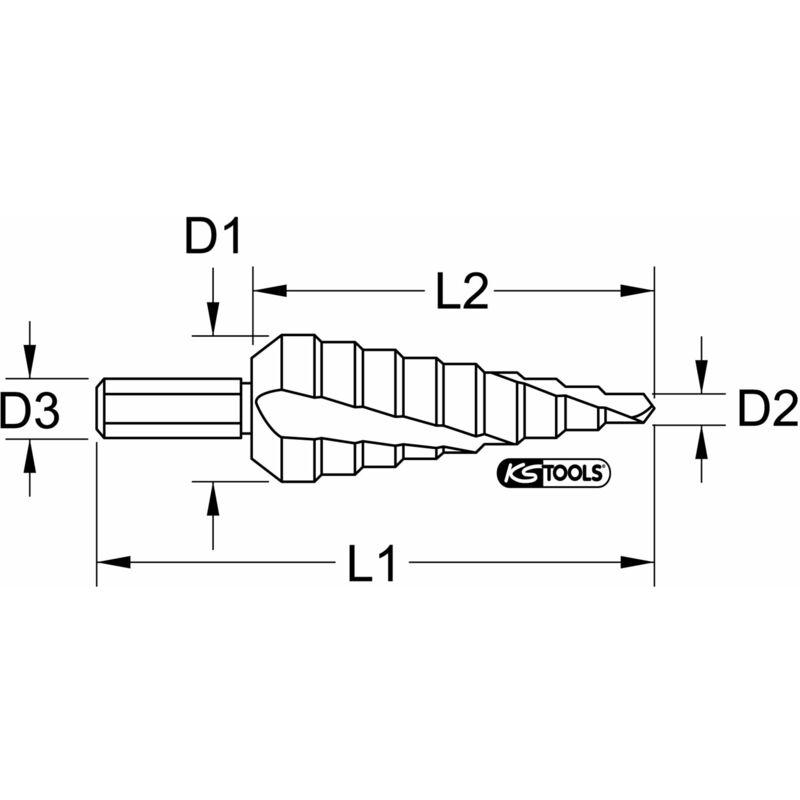 HSS Broca escalonada /Ø 6-40mm 16 pasos KS Tools 330.2308