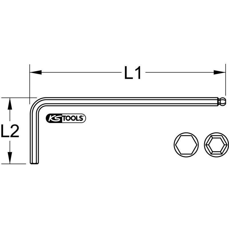 lang KS Tools Kugelkopf-Innensechskant-Winkelstiftschlüssel phosphatiert 14mm