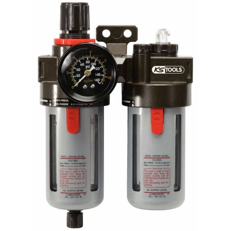 """KS Tools Unidad de mantenimiento de aire comprimido 1/4"""" 0,5-12 Bar 515.3355"""