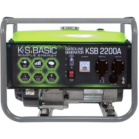 KSB 2200A Benzin Stromerzeuger 2200 Watt, 2x16A (230V), 12V, Automatischer Voltregler (AVR), Voltmeter, Ölmangelsicherung, Überspannungsschutz, Generator