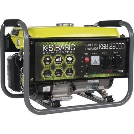 KSB 2200C Benzin Stromerzeuger 2200 Watt, 2x16A (230V), 12V, Automatischer Voltregler (AVR), Voltmeter, Ölmangelsicherung, Überspannungsschutz, Generator, 100% Kupfer