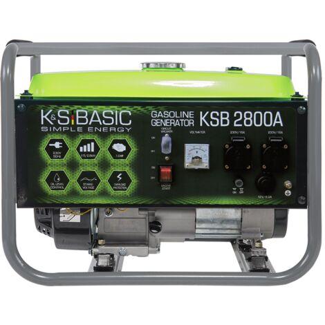 KSB 2800A Benzin Stromerzeuger 2800 Watt, 2x16A (230V), 12V, Automatischer Voltregler (AVR), Voltmeter, Ölmangelsicherung, Überspannungsschutz, Generator