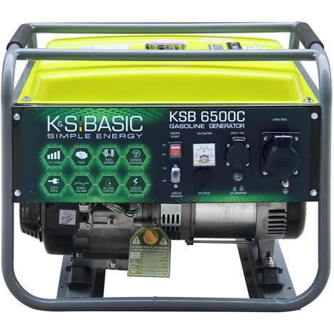 KSB 6500C Benzingenerator, Höchstleistung 5500 W, Handanlasser, Motorleistung 13 PS, automatischer Spannungsregler (AVR), Steckdosen 1x16?, 1x32A (230V), Ausgangsspannung 12V, Kurzschlussschutz, Alternator mit Kupferwicklung, Schutzklasse IP23M