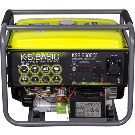 KSB 6500CE Benzingenerator, Höchstleistung 5500 W, Hand- / Elektroanlasser, Motorleistung 13 PS, LED-Anzeige (Betriebsstundenzähler, Frequenz, Spannung), automatischer Spannungsregler (AVR), Steckdosen 1x16?, 1x32A (230V), Ausgangsspannung 12V, Kurzschlus