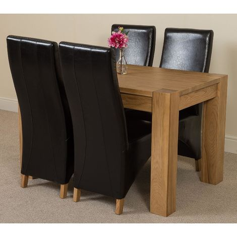 Kuba Solid Oak 125cm Dining Table with 4 Lola Dining Chairs [Black Leather]