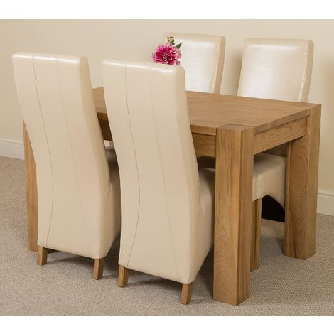 Kuba Solid Oak 125cm Dining Table with 4 Lola Dining Chairs [Ivory Leather]