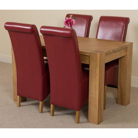 Kuba Solid Oak 125cm Dining Table with 4 Montana Dining Chairs [Burgundy Leather]