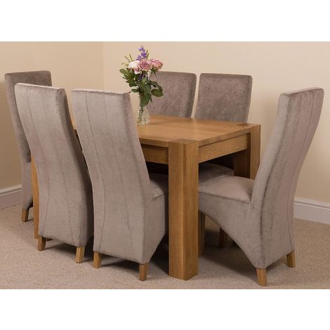 Kuba Solid Oak 125cm Dining Table with 6 Lola Dining Chairs [Grey Fabric]