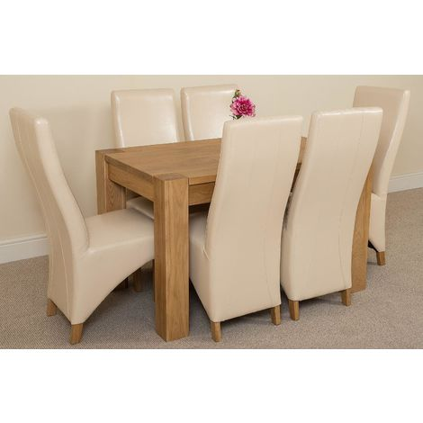 Kuba Solid Oak 125cm Dining Table with 6 Lola Dining Chairs [Ivory Leather]