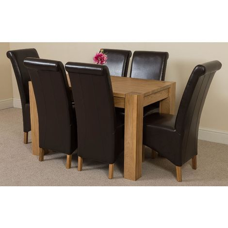 Kuba Solid Oak 125cm Dining Table with 6 Montana Dining Chairs [Brown Leather]