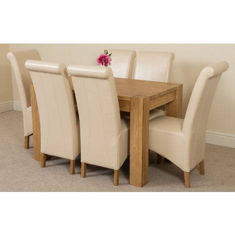 Kuba Solid Oak 125cm Dining Table with 6 Montana Dining Chairs [Ivory Leather]