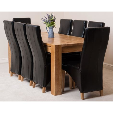 Kuba Solid Oak 180cm Dining Table with 8 Lola Dining Chairs [Black Leather]