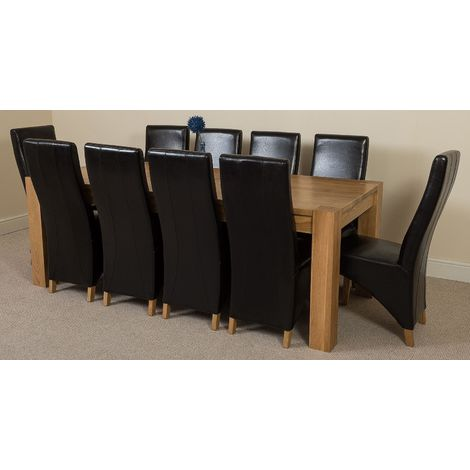 Kuba Solid Oak 220cm Dining Table with 10 Lola Dining Chairs [Black Leather]