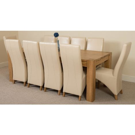 Kuba Solid Oak 220cm Dining Table with 10 Lola Dining Chairs [Ivory Leather]