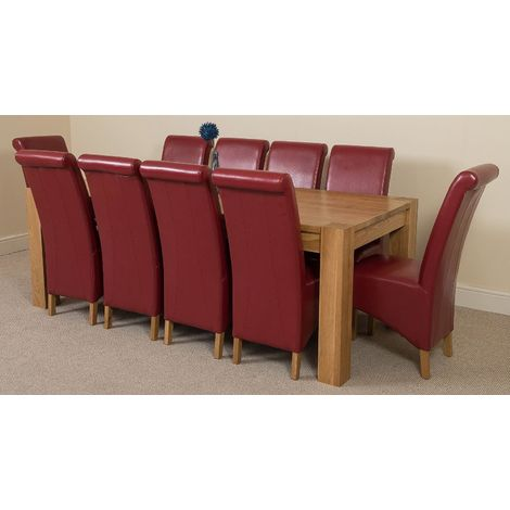 Kuba Solid Oak 220cm Dining Table with 10 Montana Dining Chairs [Burgundy Leather]