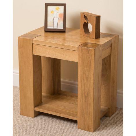 Kuba Solid Oak Lamp Table