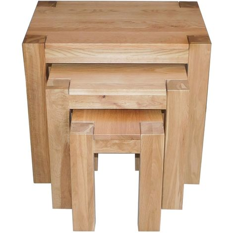 Kuba Solid Oak Nest of Tables [3 Tables]