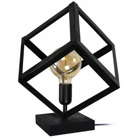 KUBE Lampe a poser en métal - 35 x 35 x H35 cm - Noir - E 27 - 1 x 40 W