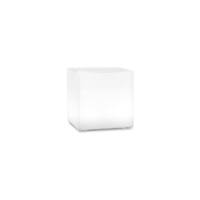 Homemania - Kubik Tischlampe - Quadratisch - vom Schreibtisch, Buero, Nachttisch - Weiss aus Glas, 11 x 11 x 11 cm, 1 x E27, 9,5W, 220-240V