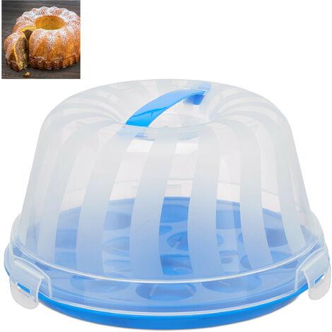 Kuchenbox, rund, Henkel, Gugelhupf, Kuchen & Torten, Muffin Transportbox, HxD 15,5 x 28,5cm, blau/transparent