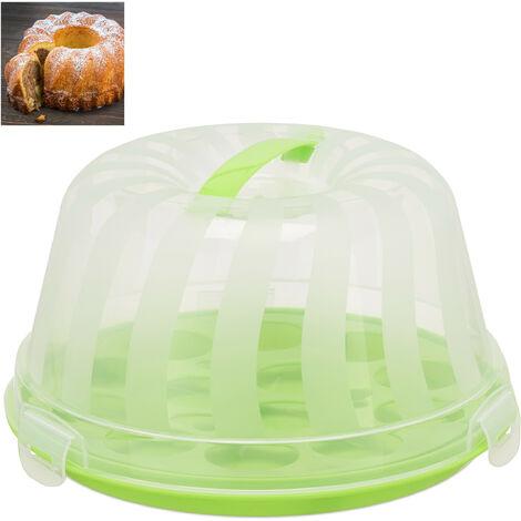 Kuchenbox, rund, Henkel, Gugelhupf, Kuchen & Torten, Muffin Transportbox, HxD 15,5 x 28,5cm, grün/transparent