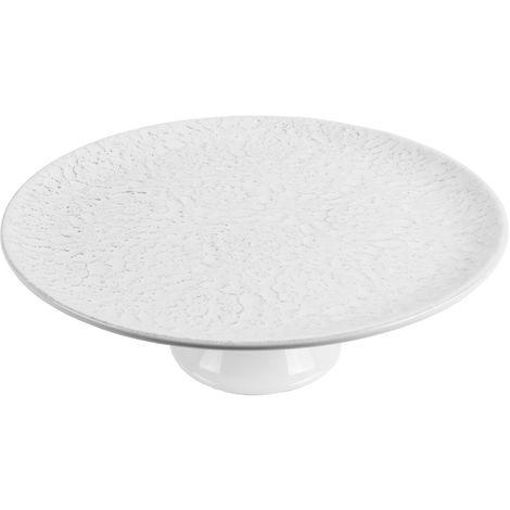 Kuchenplatte mit Fuß Ø32xH12cm, Runde Platte mit Blumenmuster, Keramik in Weiß, Kuchenteller Tortenplatte Servierplatte
