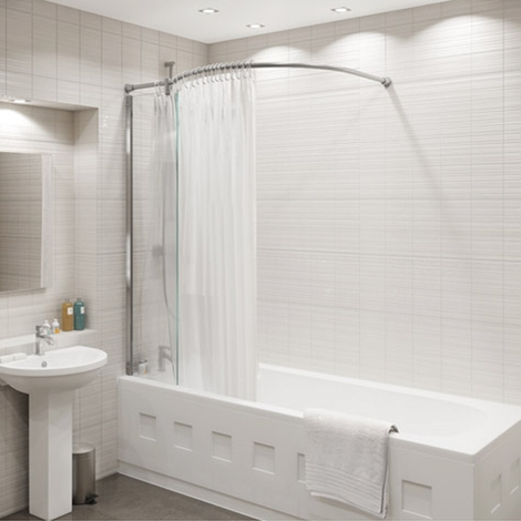 Kudos Inspire 350mm x 1556mm x 1234mm Over Bath Glass Panel with Bow Corner Shower Curtain Rail - 5OBSPBCR
