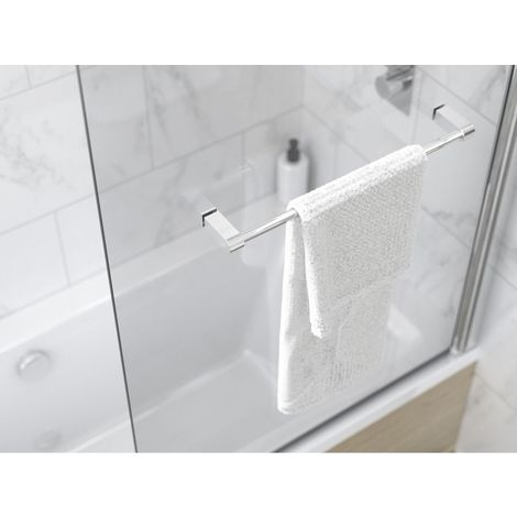 Kudos Inspire 6mm 850mm Single Panel Bath Screen with Towel Rail - 3BASC6S