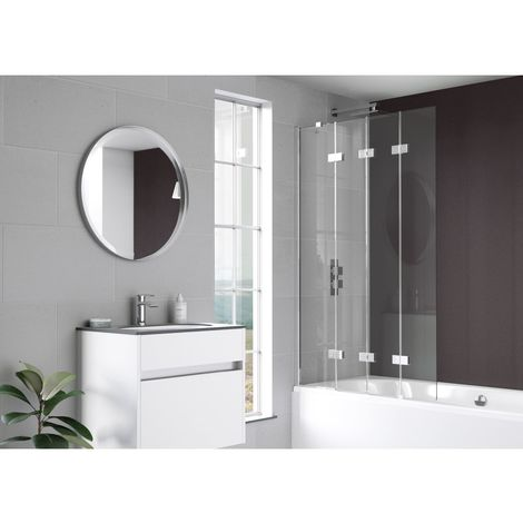 Kudos Inspire 6mm 950mm Right Hand Hinged Compact 4 Panel Bath Screen - 4BASCOMPRHS
