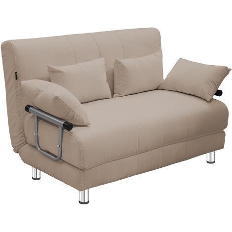 Kudram - Divano letto 2 in 1 a Due Posti in Acciaio e Tessuto colore beige con 4 cuscini