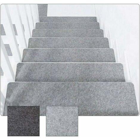 kueatily 14 pièces Tapis escalier antidérapant Tapis adhésif Tapis de Marche Couvre Tapis de sécurité Lavable pour Enfants aînés et Animaux de Compagnie (Gris Clair)