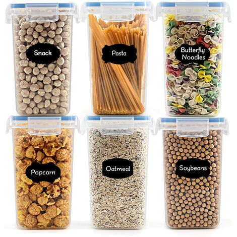 kueatily 1.6L boîtes de Conservation Alimentaire sans BPA de Nourriture en Plastique avec Couvercle, Boîtes à céréales Ensemble De 6 Étiquettes,pour Céréales,Farine (Bleu)