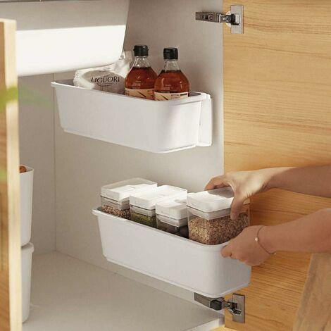 kueatily 2 organisateurs de panier d'armoire de cuisine,Glissez les tiroirs de rangement en plastique,sous l'évier,organisateur du meuble, tiroir coulissant pour cuisine,salle de bain Undersink(blanc)