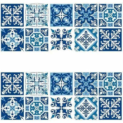 kueatily 2 Pcs Carrelage Mural Autocollant, Sticker Carrelage Autocollant 15×15cm Carrelage Adhésif Mural Étanche pour Cusine Salle de Bain (Style Porcelaine Bleu et Blanc)