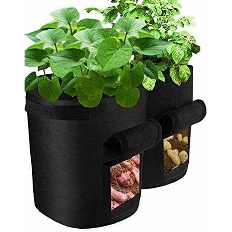 kueatily 2Pcs Sac de Culture de Pommes de Terre Croissance, Sacs à Plantes pour Pomme Vegetale Tissu Durable avec Rabat et Poignée - Jardinage Potager Interieur