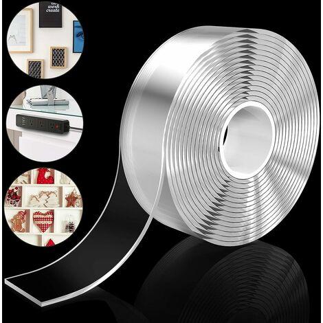 kueatily 3M Ruban Adhésif Nano Transparent, Ruban Adhésif Amovible Sans Trace Réutilisable Lavable en Gel Fort pour Mur, Cuisine, Escaliers, Tapis, Fixation de Photos, etc