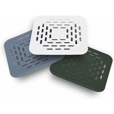 kueatily 3X Protection bonde d'écoulement, Filtre d'écoulement, Couvercle pour bonde, avec Ventouse, Attrape-Cheveux pour douches, baignoires, éviers Blanc, Vert, Bleu, 13x13x0.5cm