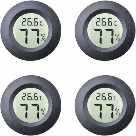 kueatily 4-Pack Mini Hygromètre Intérieur Rond Thermomètre Mètres Celsius ou Fahrenheit Moniteur LCD Numérique Jauge De Température D'humidité pour Humidors Pots Incubateurs Etui Guitare Reptiles Voiture
