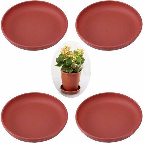 kueatily 4 Pièces Soucoupe pour Pot de Fleurs, Plastique Pot de Fleur Plante Plateaux à Drainage, Dessous de Pot de Fleurs en Plastique, pour Pot de Fleurs, Décoration Intérieure ou Extérieure(Rouge Brique)