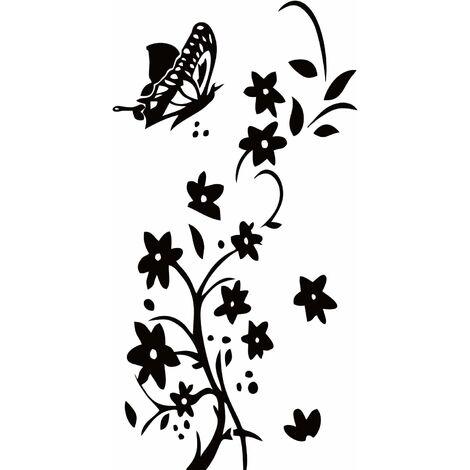 kueatily 42 x 88 cm Stickers muraux Fleurs Noir DIY Stickers muraux avec Papillons Papier peint pour le salon, la chambre, la salle de bain Décoration de la maison