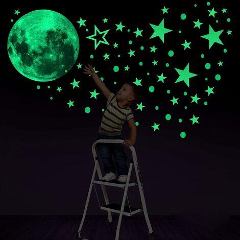 kueatily 435 Points Lune et Etoiles phosphorescentes Stickers Muraux fluorescents Lumineux Autocollant Plafond pour Décoration de Chambre d'enfant bébé