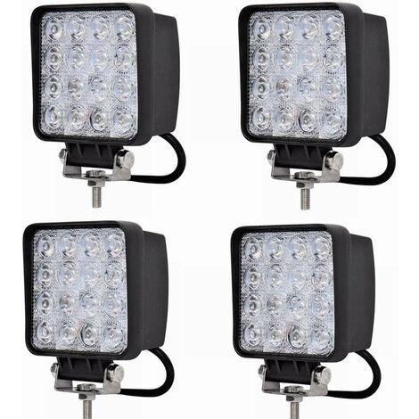kueatily 48W Travail Projecteur Lampe LED Voiture Lumière Phare de travail spot Flood pour SUV UTV Offroad lampes de travail tracteur Pelleteuse Camion voiture 4x48W