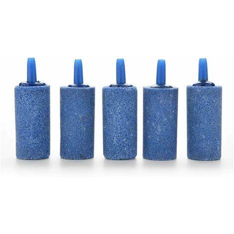 kueatily 5 Pcs Pierres d'air , Pierre à Air d'Aquarium Cylindre Bulle Diffuseur Airstones pour Pompe à Air Aquarium Hydroponie-bleu