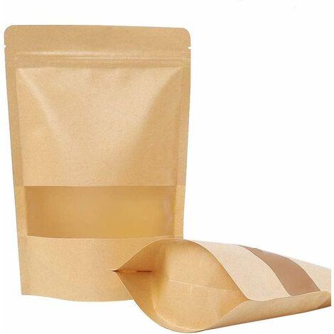 kueatily 50 pièces Sac en Papier Kraft Zip Petit Sac en Papier avec fenêtre Sac ziplock Alimentaire-adapté aux graines de thé de café de Fruits secs (12x20cm)