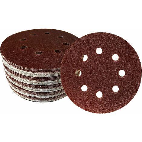kueatily 50 Velcro de disques abrasifs Ø 125 mm Grain 180 pour Ponceuse Excentrique de 8 Trous