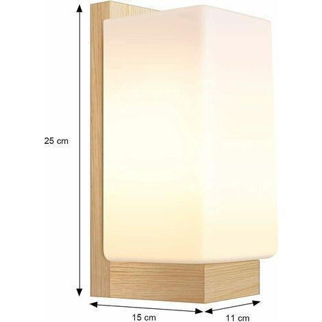 kueatily Applique Murale Moderne Minimaliste Acrylique Led Applique Murale Lampe De Couloir En Bois Massif Chambre Lampe De Chevet E27 Blanc Chaud [classe énergétique A ++](cube)